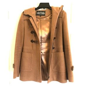 Jackets & Blazers - Light brown wool coat with hood and toggle buttons